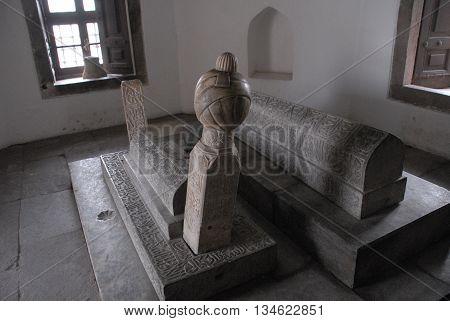 KONYA/TURKEY-June 7, 2016: Tomb and turban at the Mevlana Museum of Konya. June 7, 2016-Konya/Turkey