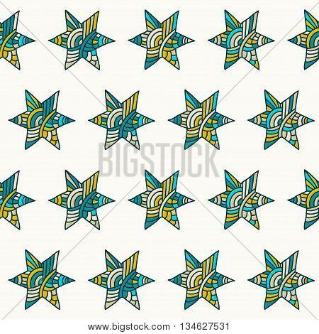 Doodle handmade stars vector seamless pattern background