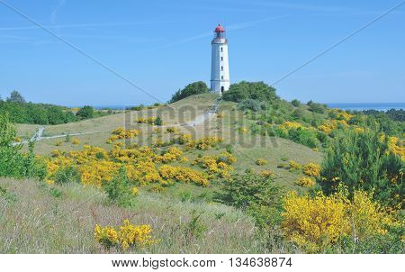 the famous Lighthouse at Dornbusch Hill on Hiddensee Island,baltic Sea,Mecklenburg western Pomerania,Germany