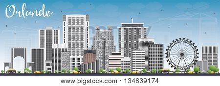 Orlando Skyline with Gray Buildings and Blue Sky. Vector Illustration. Business Travel and Tourism Concept with Orlando City. Image for Presentation Banner Placard and Web Site.