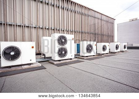 different cooling elements of the building on the roof