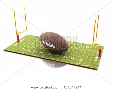 3d renderer image. American Football field with ball. Sport concept. Isolated white background.