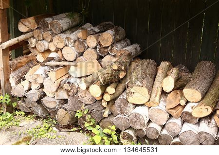 chopped fire wood stoorage close up photo