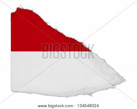 Flag Of Monaco/indonesia Torn Paper Scrap Isolated On White Background