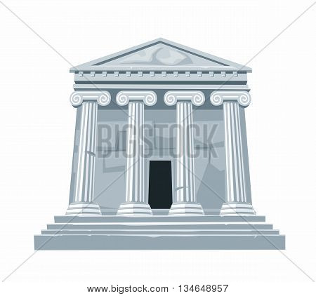 Antique Roman or Greek temple with colonnade isolated on white background. Vector flat illustration.