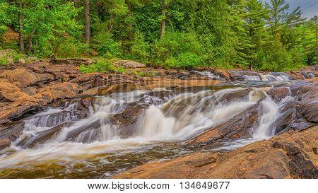 Wilsons Falls are located near Bracebridge Ontario Canada.