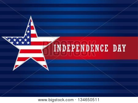 Independence Day USA star banner. Happy independence day USA vector background template with star in national flag colors and text