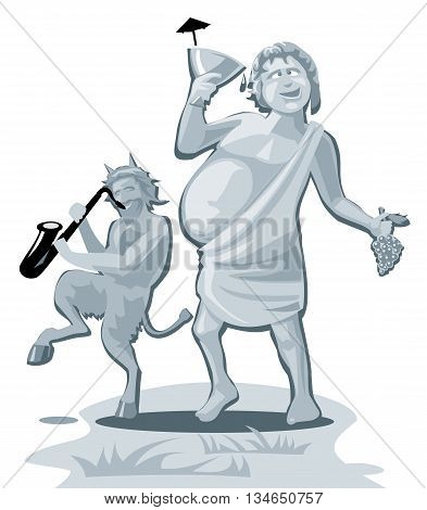 Dionysus and satyr. Greek god isolated on white background. Vector flat gray illustration.