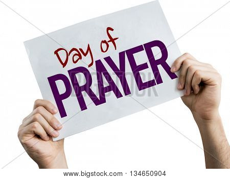 Day of Prayer placard isolated on white background