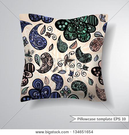 Creative sofa square pillow. Decorative pillowcase design template. Pattern with abstract organic ornament.