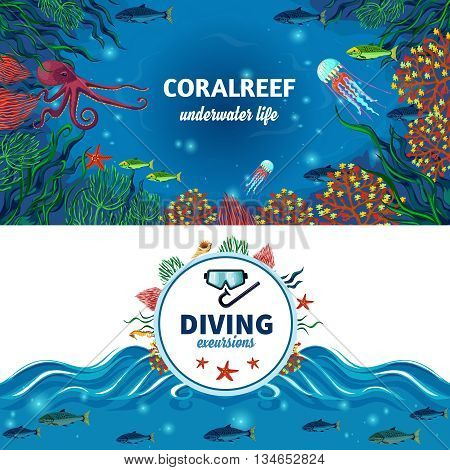 Sea life horizontal banners with colorful image of coral reefs exotic underwater animals and diving advertising flat vector illustration