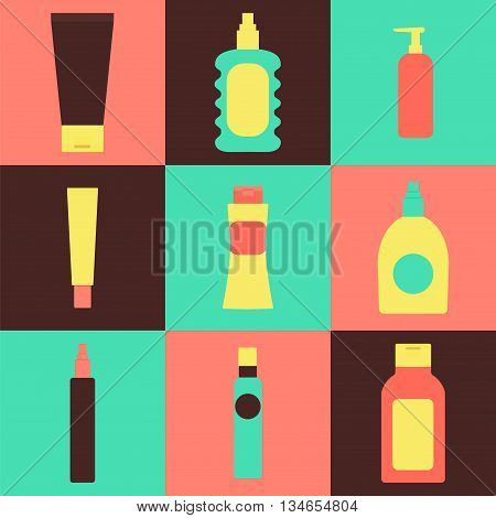 Cosmetics packaging icons. Vector illustration of cream bottles lotion soap moisture container perfume jug isolated. Beauty and bodycare set. Flat style