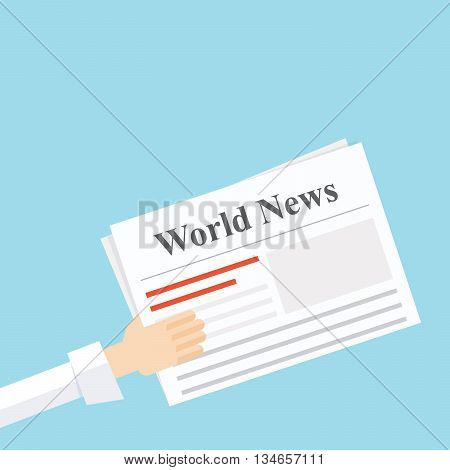 news newspaper in his hand . Vector illustration in a flat style.