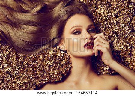 Beautiful Brown Hair Girl. Healthy Long Hair.