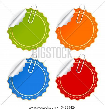 Color vector stickers set isolated on white background