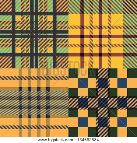 Set of seamless tartan patterns. Plaid twill sand palette tartan pattern. Vector illustration.