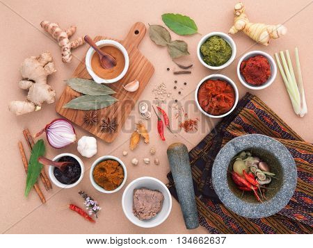 Assortment Of  Thai Food Cooking Ingredients Spice Taste . Healthy And Delicious Foods. Paste Of Tha