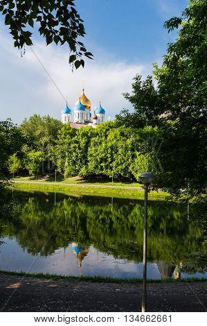 Novospassky monastery towers in Moscow Russia close to Proletarskaya metro station