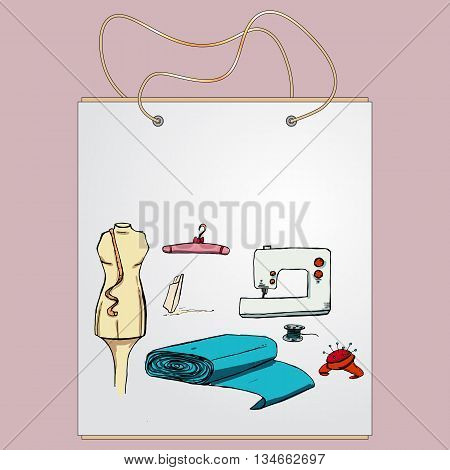 Shopping bag, gift bag with the image of fashionable things.Fashion set. Various tools for sewing. illustration in hand drawing style.