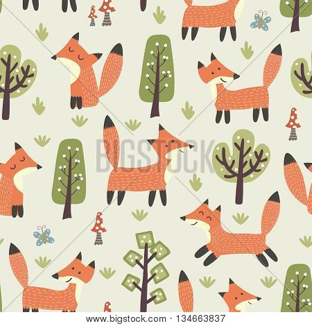 Forest seamless pattern with cute little foxes and trees. Vector texture in childish style great for fabric and textile, wallpapers, web page backgrounds, cards and banners design