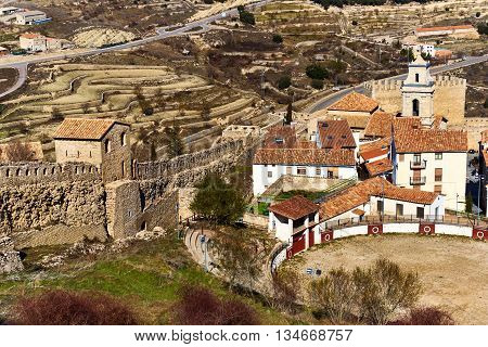 Bullring in Morella and surrounding countryside. Province of Castellon Valencian Community Spain.