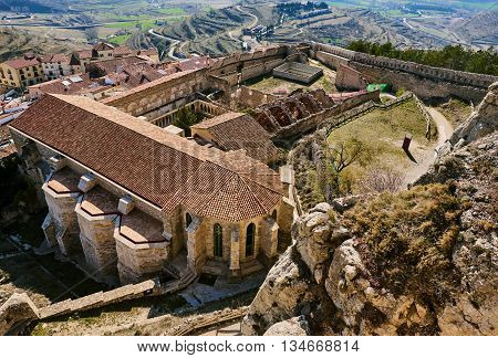 Castle of Morella. Morella Castle was declared a monument of artistic and historical importance. Province of Castellon Valencian Community Spain.