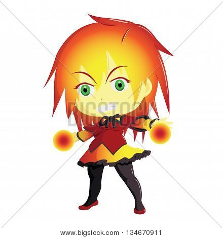 Illustration 2D Enfant Super Héros : FireGirl