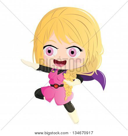 Illustration 2D Enfant Super Héros : RunGirl
