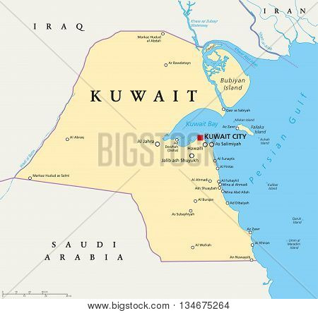 Kuwait political map with capital Kuwait City, national borders, important cities and rivers. English labeling and scaling. Illustration.