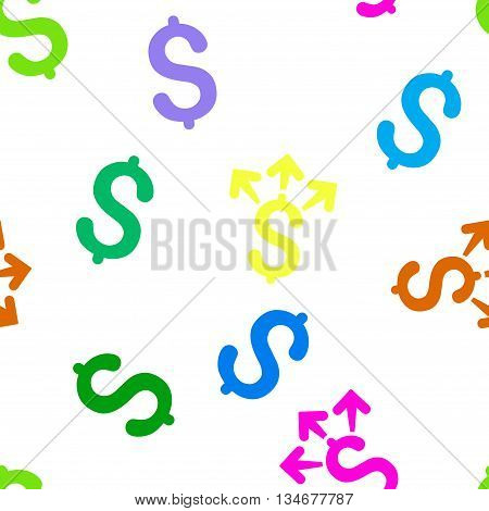 Spend Money vector seamless repeatable pattern. Style is flat spend money and dollar symbols on a white background.