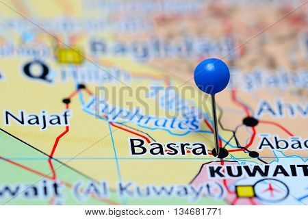 Basra pinned on a map of Iraq