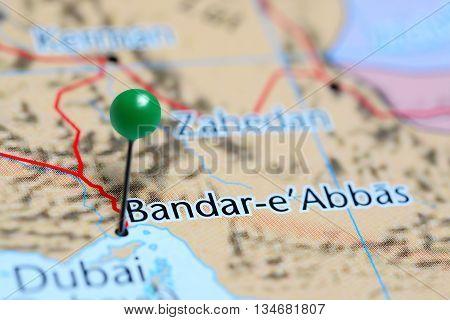 Bandar Abbas pinned on a map of Iran