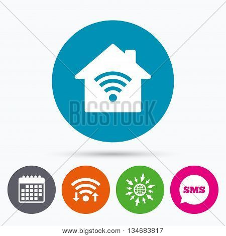 Wifi, Sms and calendar icons. Home Wifi sign. Wi-fi symbol. Wireless Network icon. Wifi zone. Go to web globe.