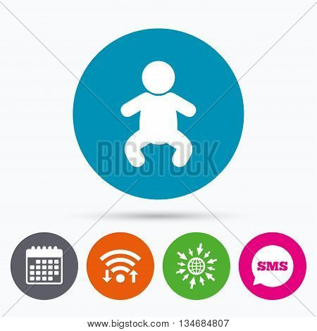 Wifi, Sms and calendar icons. Baby infant sign icon. Toddler boy in pajamas or crawlers body symbol. Child WC toilet. Go to web globe.