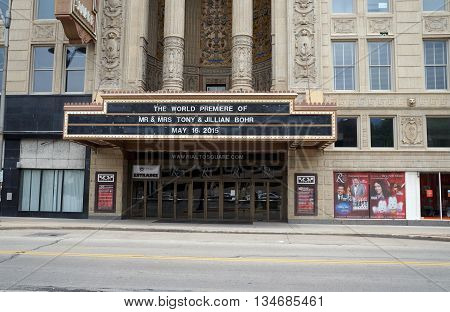 JOLIET, ILLINOIS / UNITED STATES - MAY 24, 2015: The World Premiere of Mr. and Mrs. Jillian Bohr took place in the historic Ruben's Rialto Square Theater in downtown Joliet.