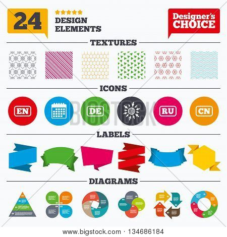 Banner tags, stickers and chart graph. Language icons. EN, DE, RU and CN translation symbols. English, German, Russian and Chinese languages. Linear patterns and textures.