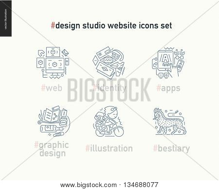 Contemporary flat vector icons of web design, identity, graphic design, app development, illustration and team bestiary.