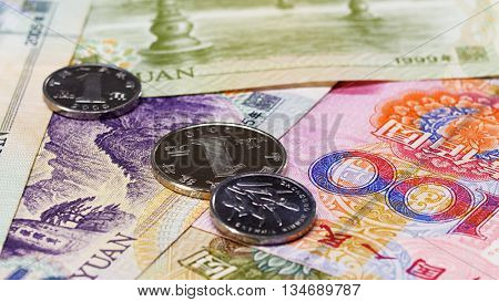 Yuan bank notes and coins business background