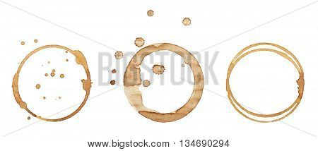 Coffee stains, isolated on white