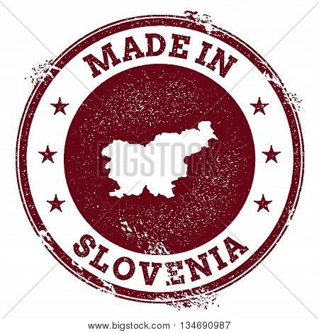 Slovenia Vector Seal. Vintage Country Map Stamp. Grunge Rubber Stamp With Made In Slovenia Text And
