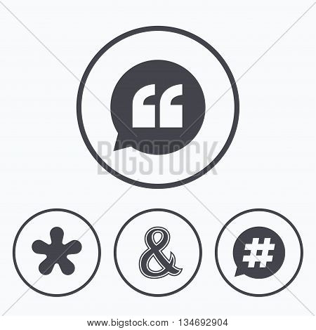 Quote, asterisk footnote icons. Hashtag social media and ampersand symbols. Programming logical operator AND sign. Speech bubble. Icons in circles.