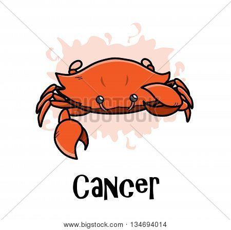 Cancer Zodiac, a hand drawn vector cartoon illustration of Cancer zodiac, The Crab.