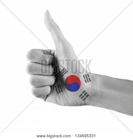 South Korean Flag Painted Hand Showing Thumbs Up Sign On Isolated White Background With Clipping Pat