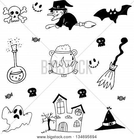 Halloween set in doodle stock with hand draw