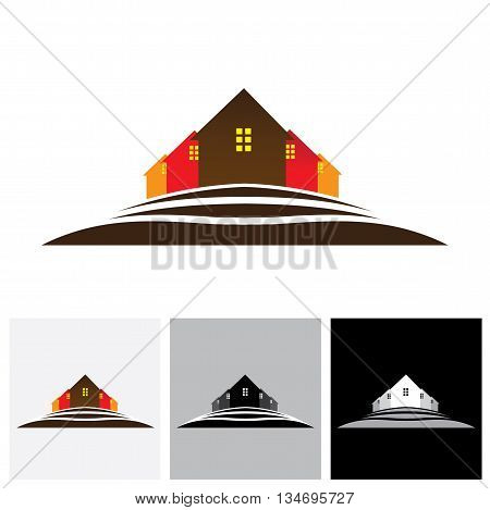 House ( Home ) & Residences On Hill Vector Logo Icon For Real Estate Market.
