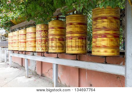 Panning shot of Prayer Wheels in the premises of Swayambhunath StupaNepal.