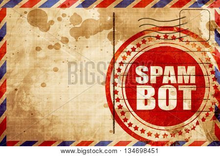spam bot, red grunge stamp on an airmail background