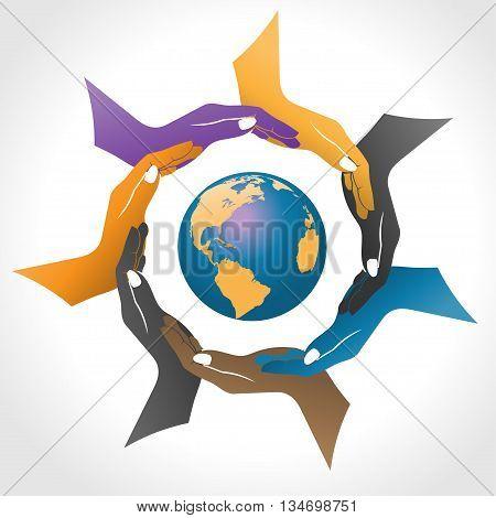 Hands surrounding earth vector, community people logo
