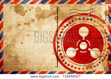 Chemical weapon sign, red grunge stamp on an airmail background