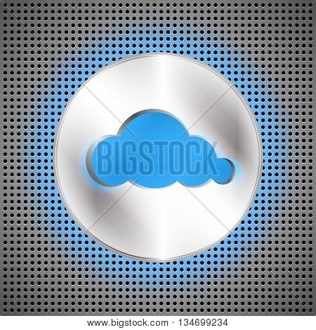 Cloud computing futuristic background. Technological perforated background with cloud button and cloud shape cut off. Vector illustration